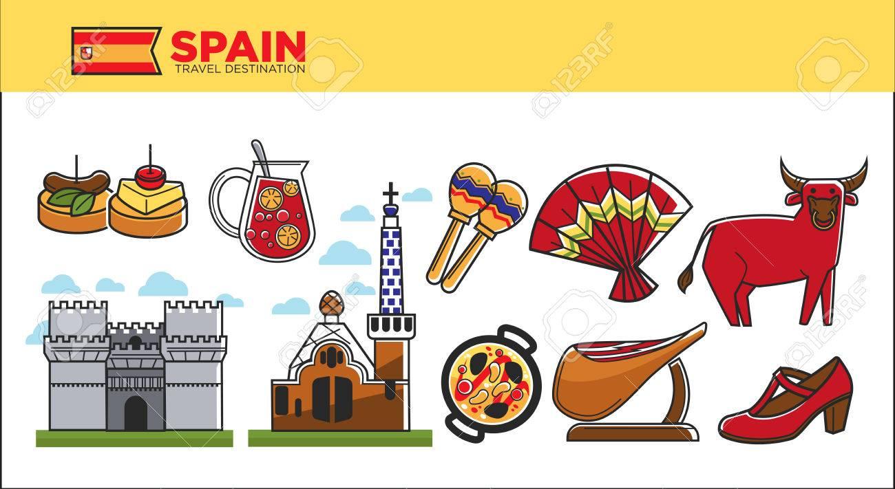 Spain travel destination promotional poster with country symbols spain travel destination promotional poster with country symbols stock vector 84517129 buycottarizona Images