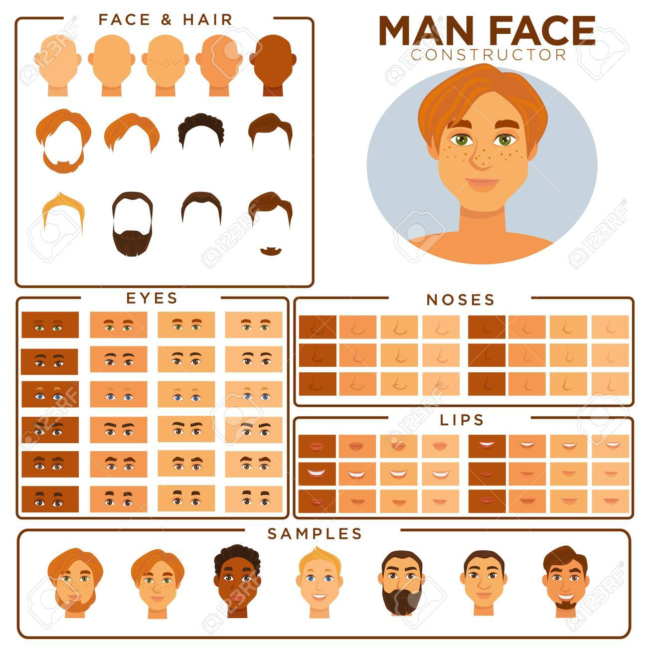 man face avatar constructor templates of male skin haircut and