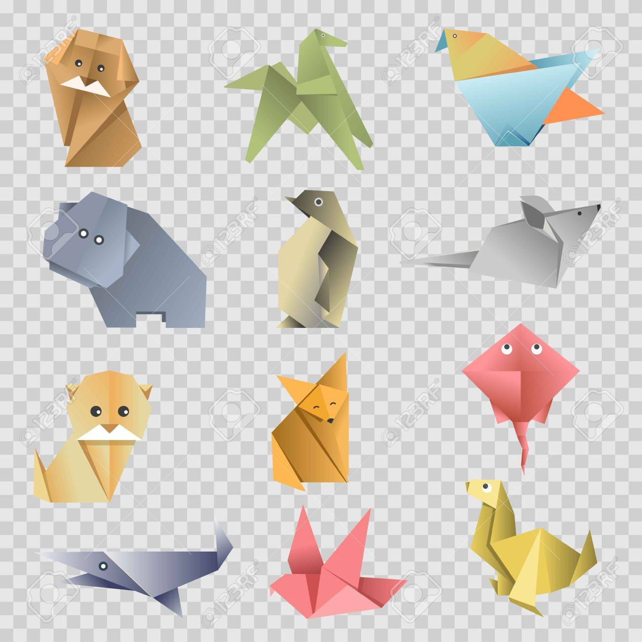 Origami paper animals birds and fishes flat set on transparent flat set on transparent background vector isolated cartoon origami fold zoo icons of dog cat or fox and mouse dove or pigeon and horse with seal jeuxipadfo Gallery