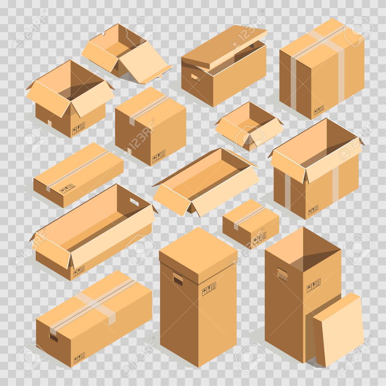 Carton Paper Box Or Cardboard Post Package Vector Templates Set