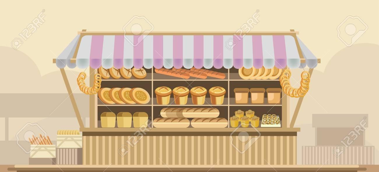パン屋さんパン スタンド カウンター ベクトル ブース製品ショップやスーパー マーケット店ディスプレイ のイラスト素材 ベクタ Image