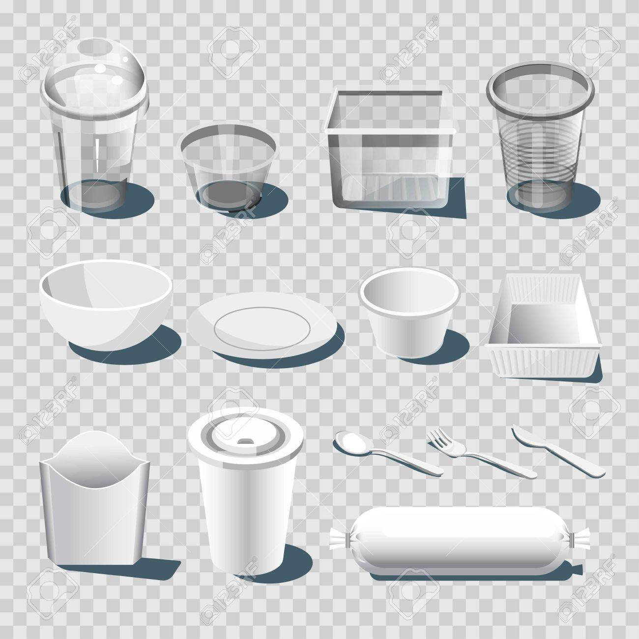Plastic dishware or disposable tableware vector 3D isolated icons - 84999055