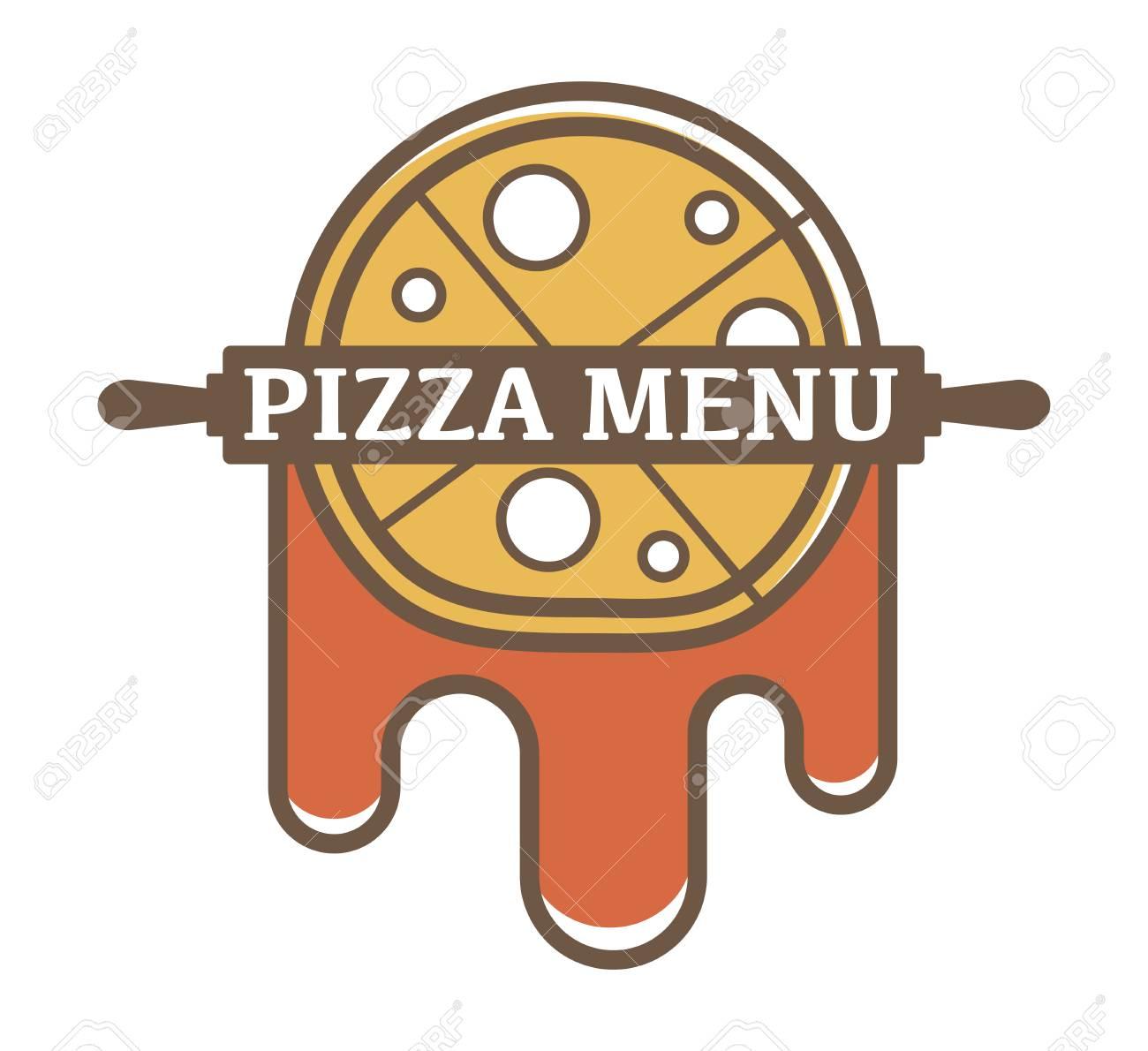 Pizza-Menü Werbe-Logotype Mit Langem Nudelholz Und Leckere Tomaten ...
