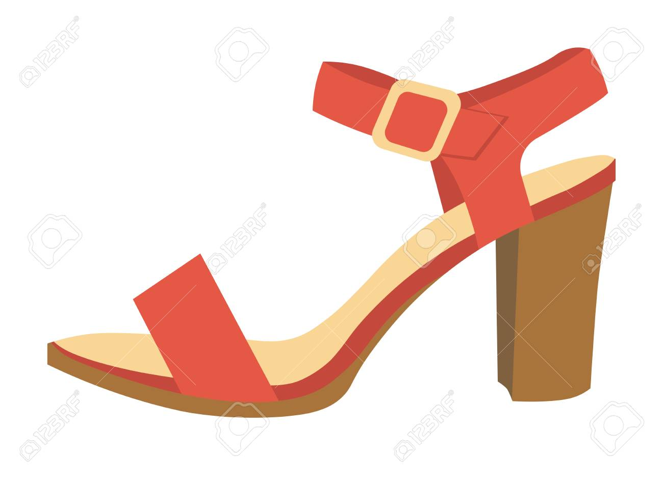 7ee32e805ac Red elegant female sandal with leather belts on comfortable heel isolated  cartoon flat vector illustration on