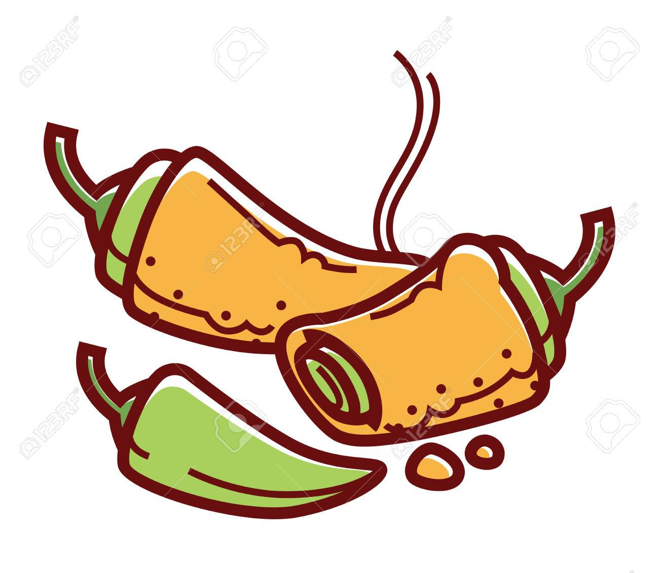 Hot Stuffed Chiles Rellenos Isolated Cartoon Illustration Royalty Free Cliparts Vectors And Stock Illustration Image 85362268