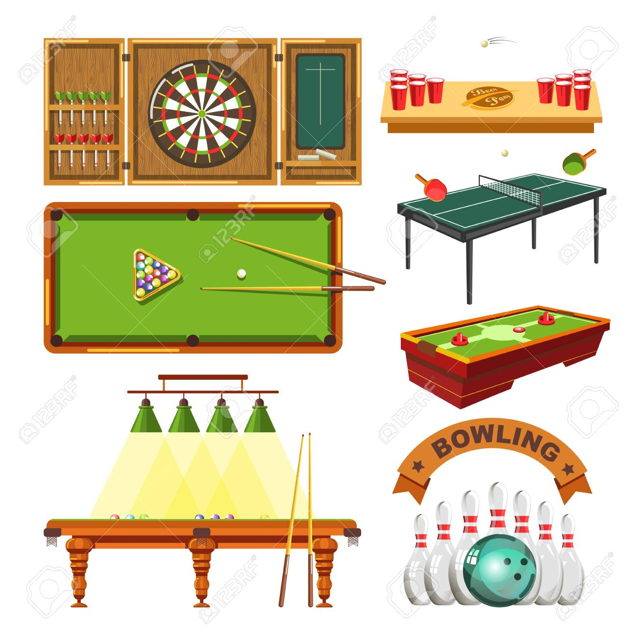 Sport Games Types Of Darts, Billiards Pool Or Beer Ping Pong, Table Tennis  And