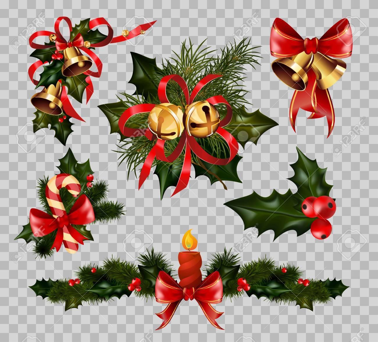 Christmas Decoration Fir Wreath Bow Elements Vector Isolated