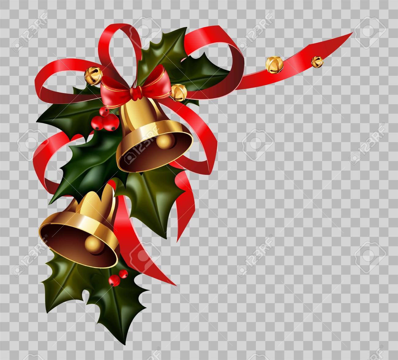 Christmas Graphics Transparent.Christmas Decoration Holly Wreath Bow Gold Bells Element Vector