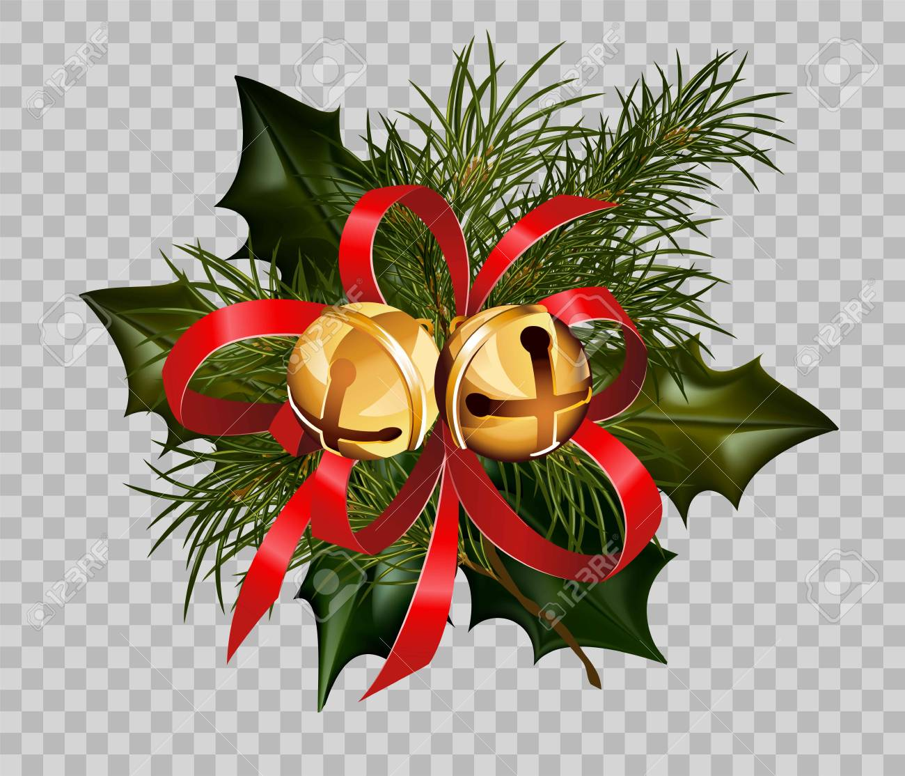 Christmas Decoration Design Template Of Holly Leaf And Fir Tree