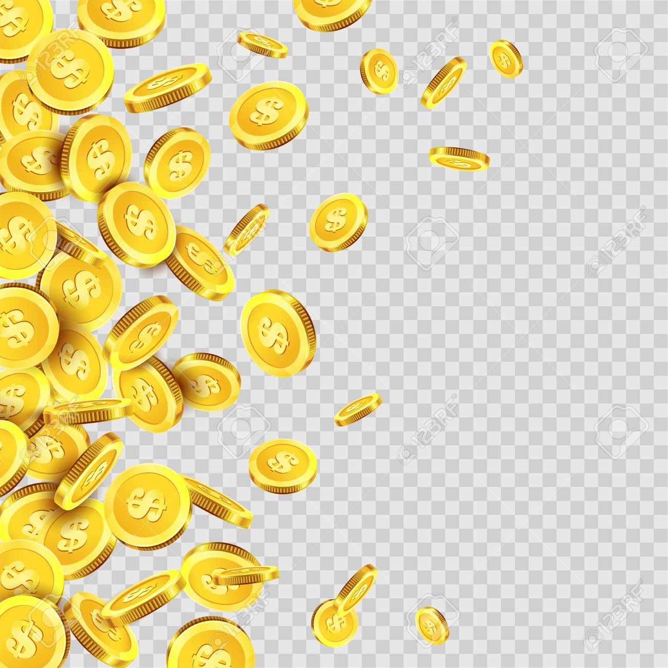 Gold coins rain falling or golden money dollar or cent metal coin on transparent background. Vector cash jackpot or fortune money fall splash - 85721576