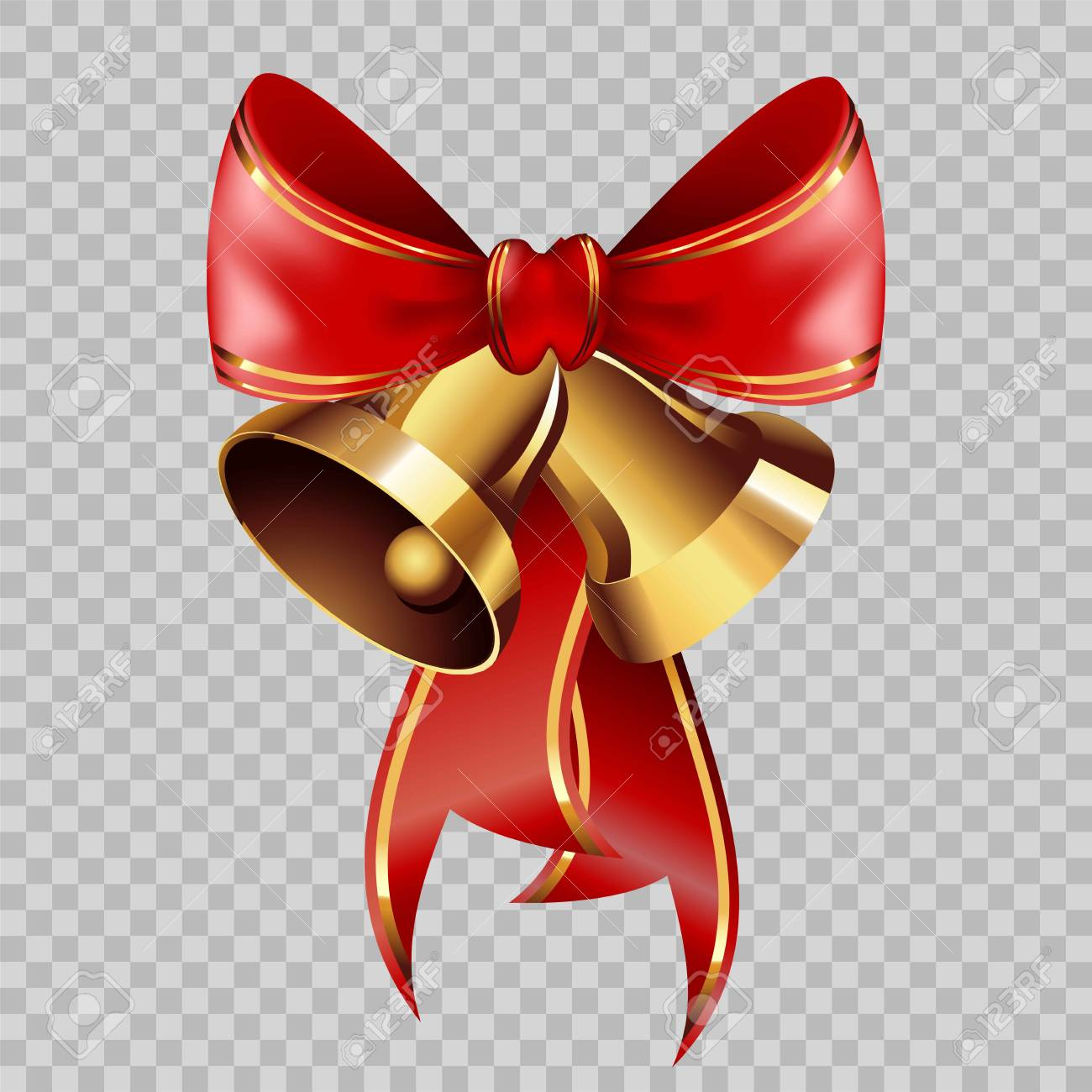 Christmas Decoration Golden Bells On Red Ribbon Bow Element Vector