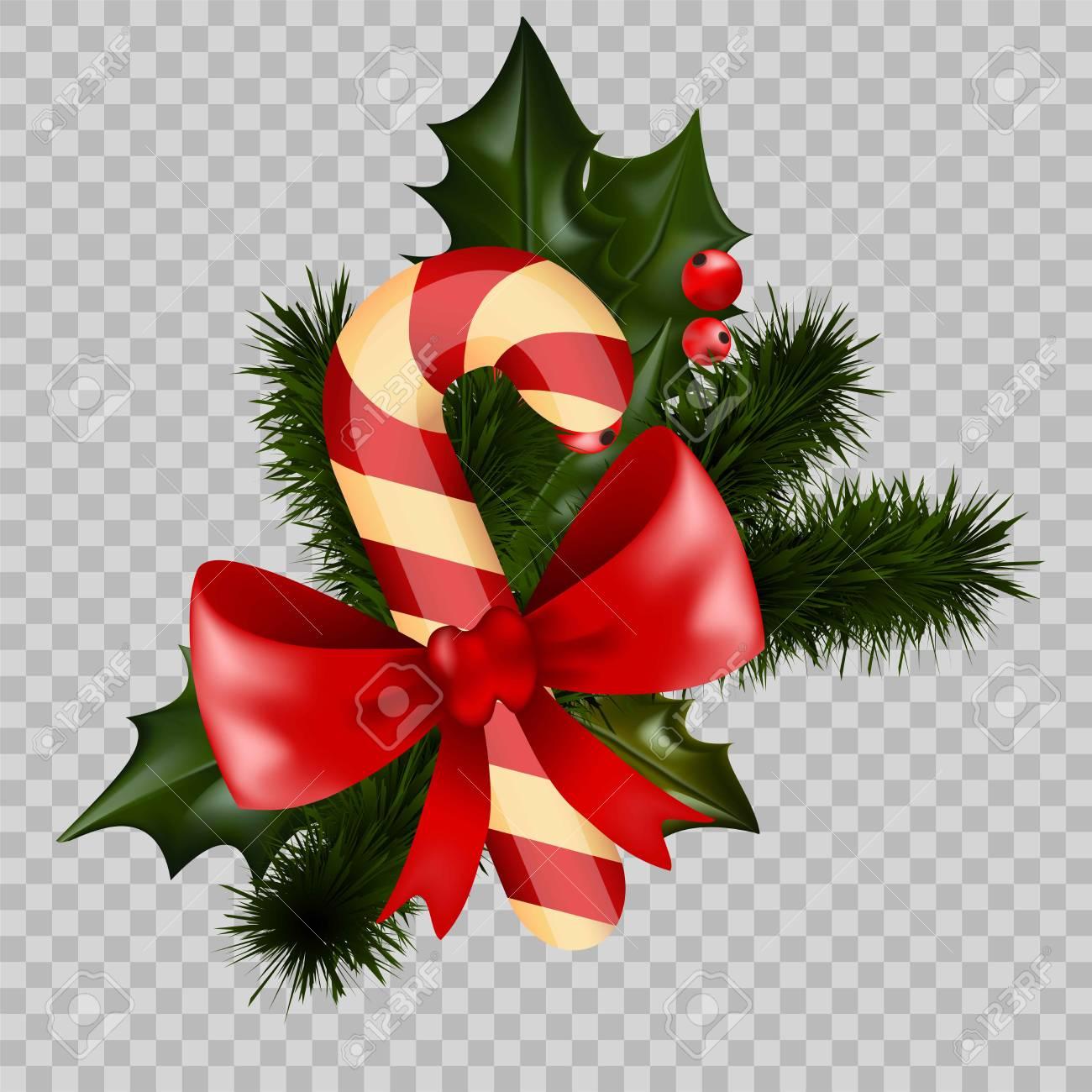Christmas Decoration Holly Fir Wreath Bow Candy Cane Element