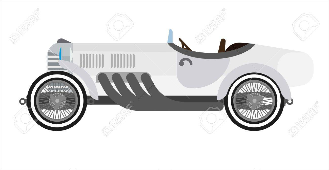 Old Sport Car Or Vintage Retro Racing Automobile. Vector Flat ...
