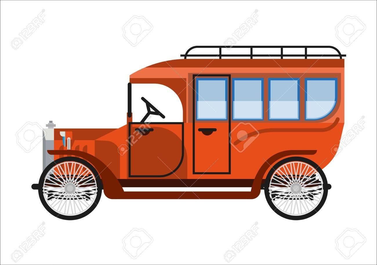 Old Car Or Vintage Retro Coach Mini Bus Automobile Of 30 Or 40 ...