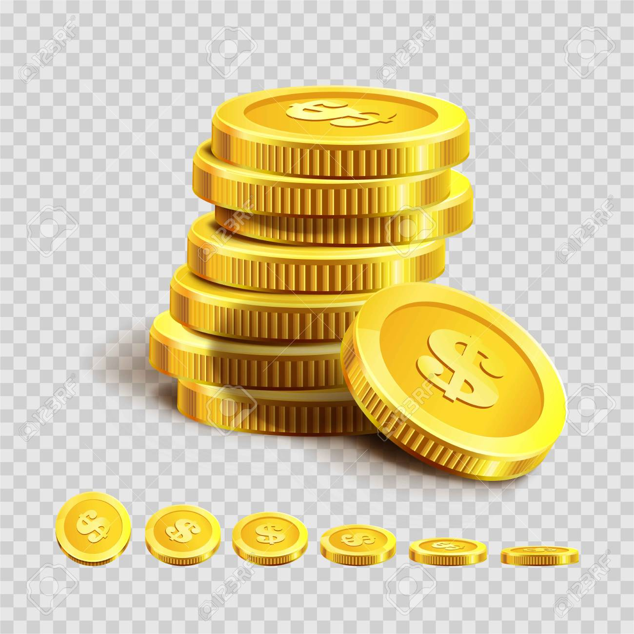 Golden Coins Piles Or Money Bank Gold Coin Heaps On Vector Transparent Background Stock