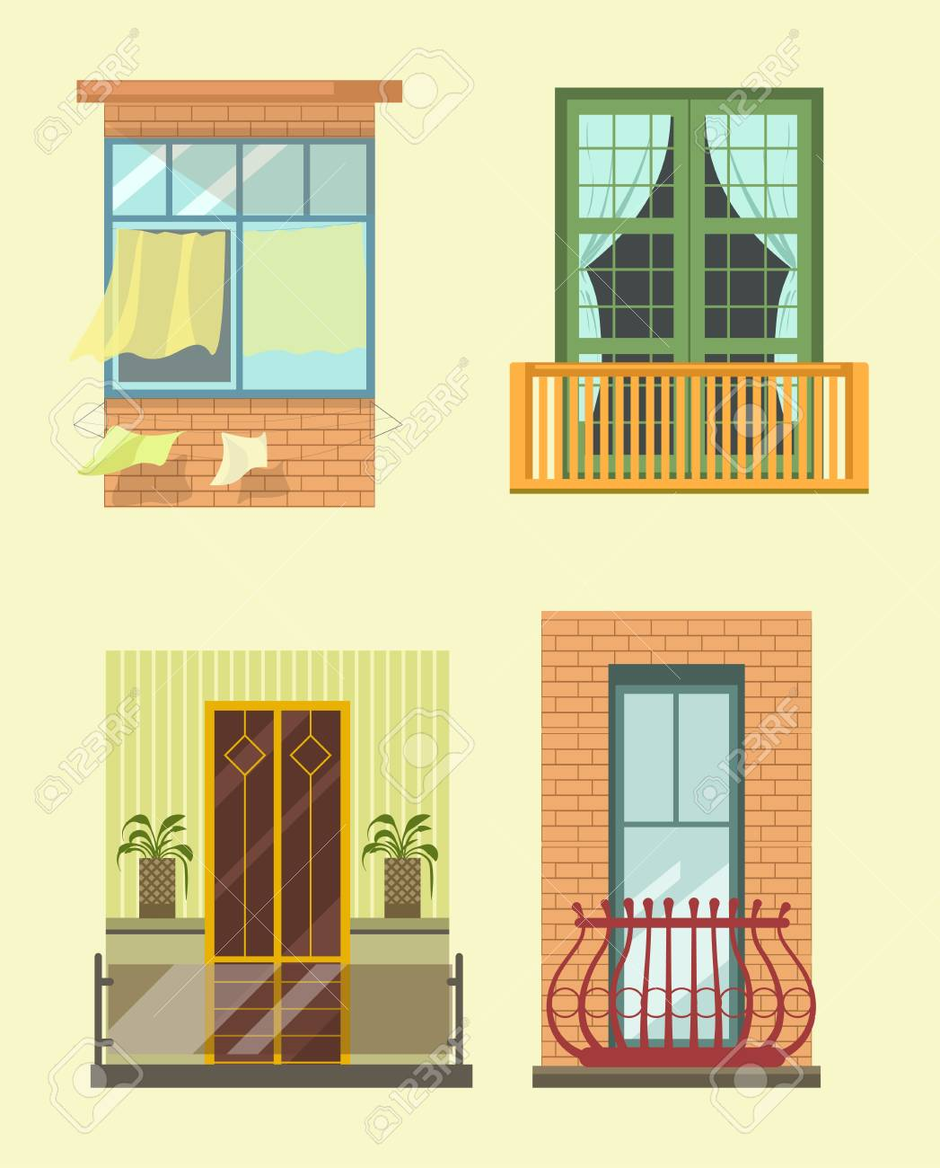 House Windows And Balcony Different Stlyes Exterior Decor Vector ...