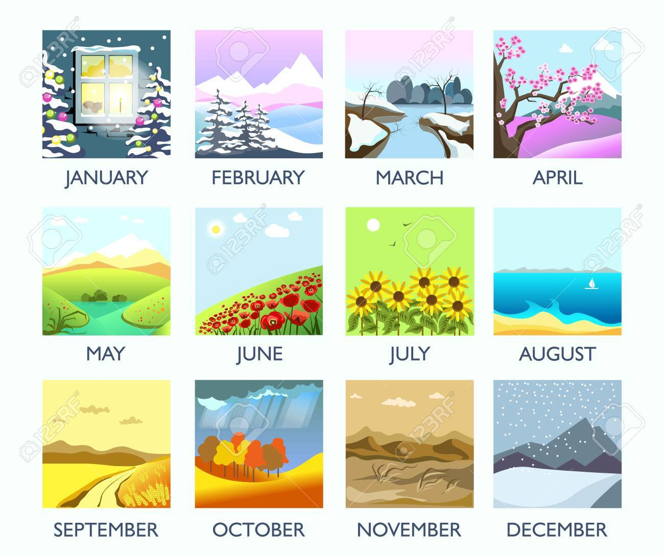Four seasons month nature landscape winter, summer, autumn, spring vector flat scenery - 87000885