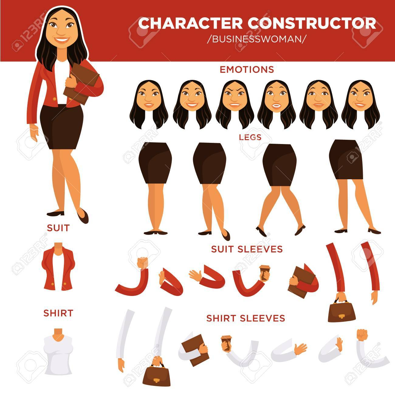 woman character constructor businesswoman face clothes templates