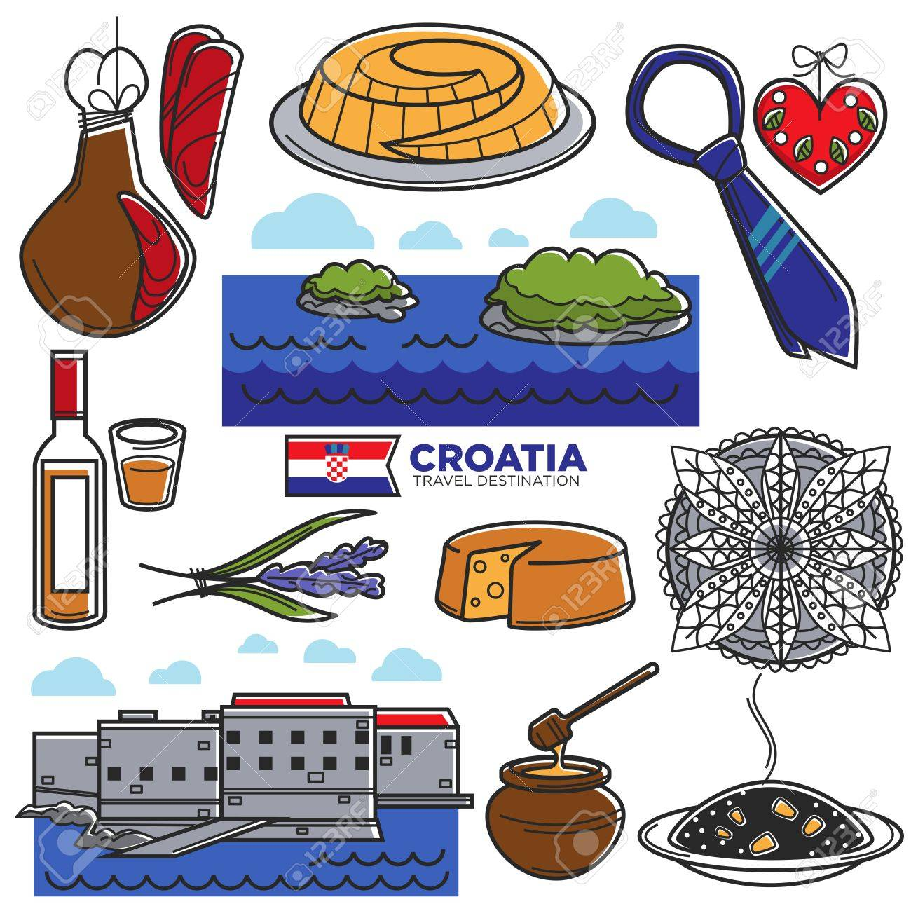 Croatia tourism travel famous symbols and tourist culture croatia tourism travel famous symbols and tourist culture landmarks vector icons stock vector 87484899 biocorpaavc Image collections