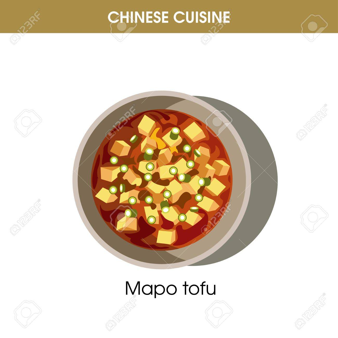Cocina China Tradicional | Cocina China Mapo Tofu Icono De Vector De Comida De Plato