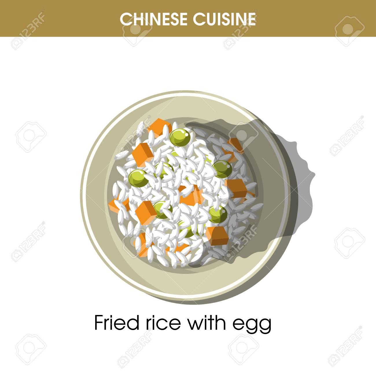 Chinesische Küche Gebratener Reis Eier Traditionelles Gericht Essen ...