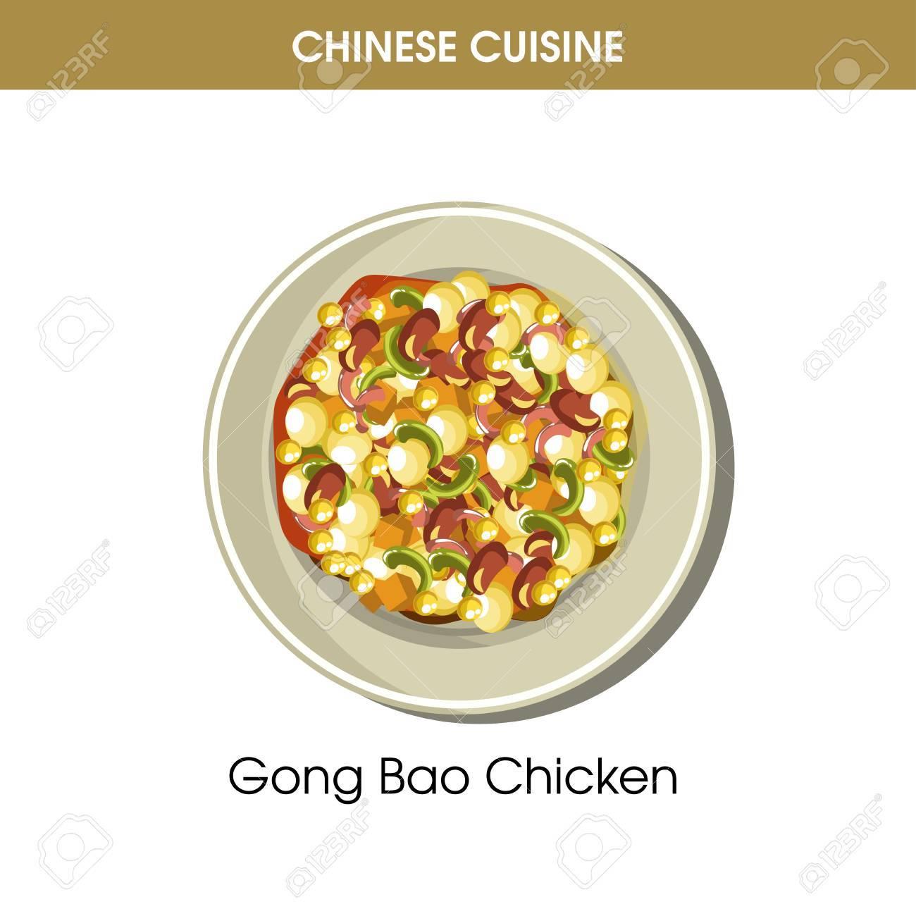 Chinesische Küche Gong Bao Huhn Traditionelles Gericht Essen Vektor ...