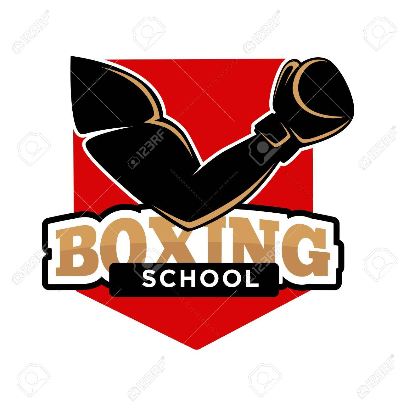 Boxing sport school isolated emblem with gloves illustration Clipart    k48772503   Fotosearch