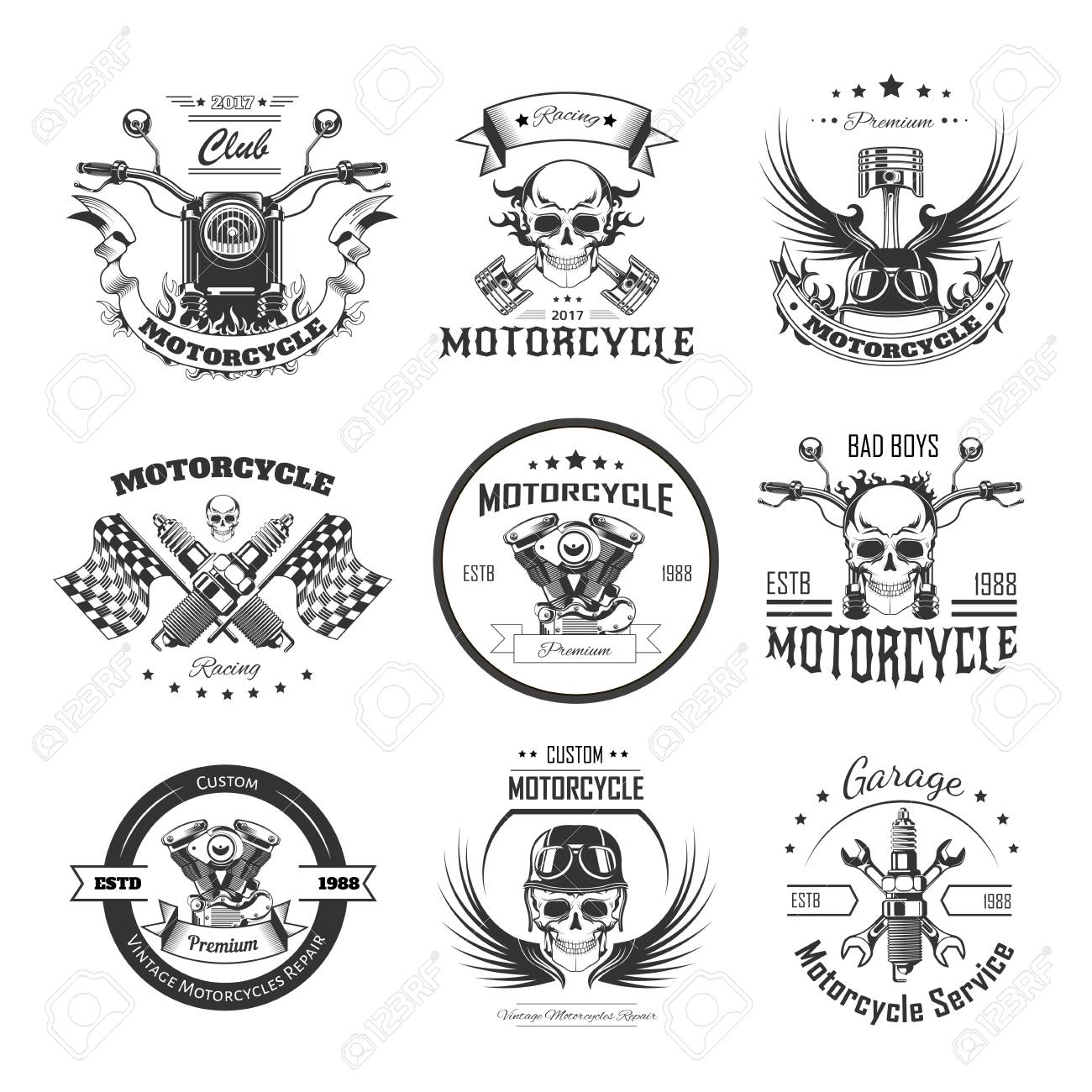 Motorcycle Or Bikers Club Logo Templates Royalty Free Cliparts ...