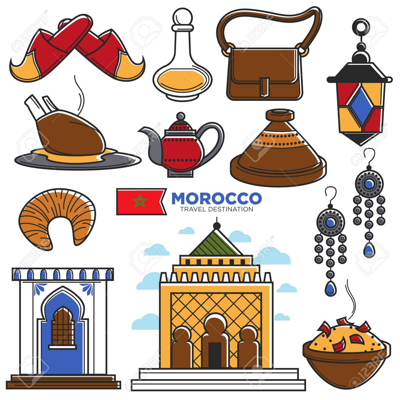Morocco tourism travel famous symbols and tourist morrocan morocco tourism travel famous symbols and tourist morrocan landmarks vector icons stock vector 87627106 biocorpaavc Images