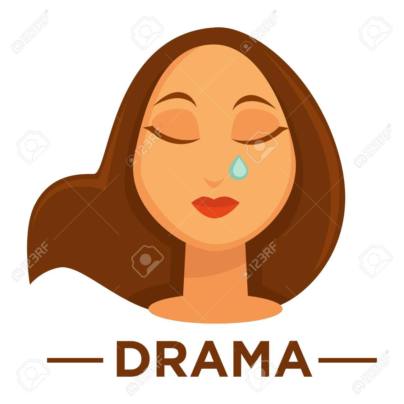 Movie genre icon logo drama of woman crying tear vector flat movie genre icon logo drama of woman crying tear vector flat isolated symbol template for biocorpaavc