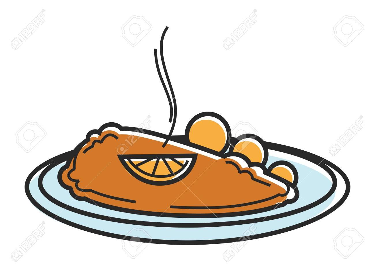 Austria Wiener Schnitzel cutlet Austrian tourism travel landmark famous dish vector icon - 88189076