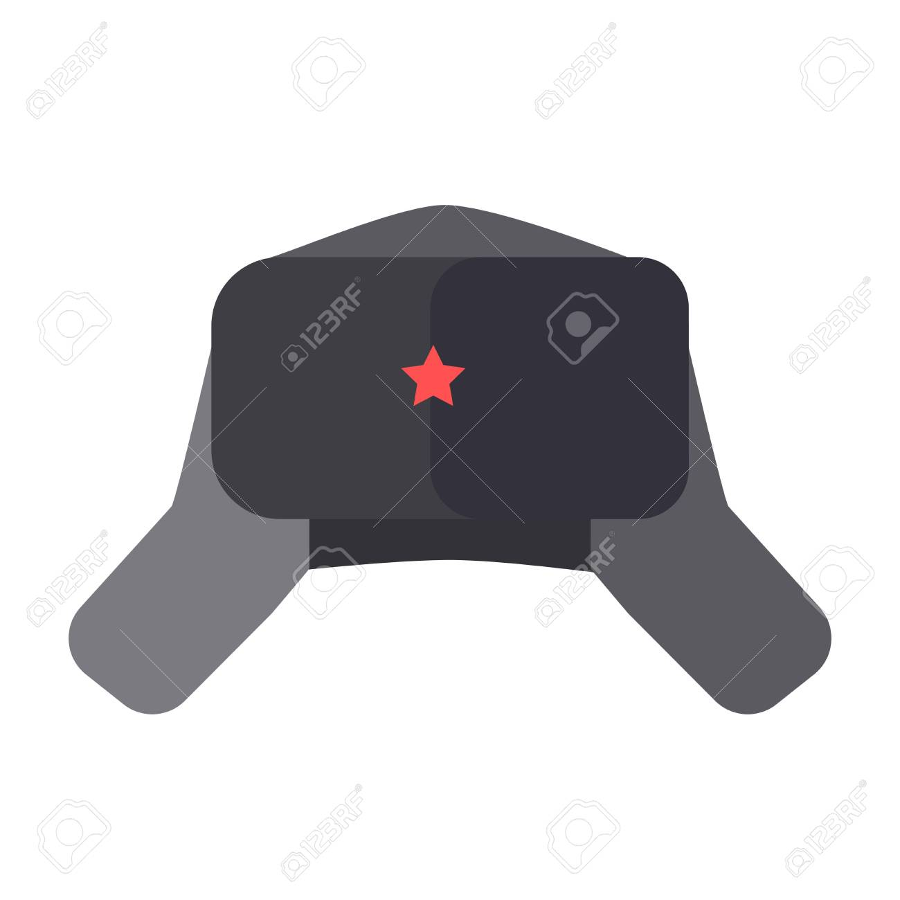 Furry Hat With Ear Flaps And Red Star On Front Royalty Free Cliparts ... d05bd789b8c