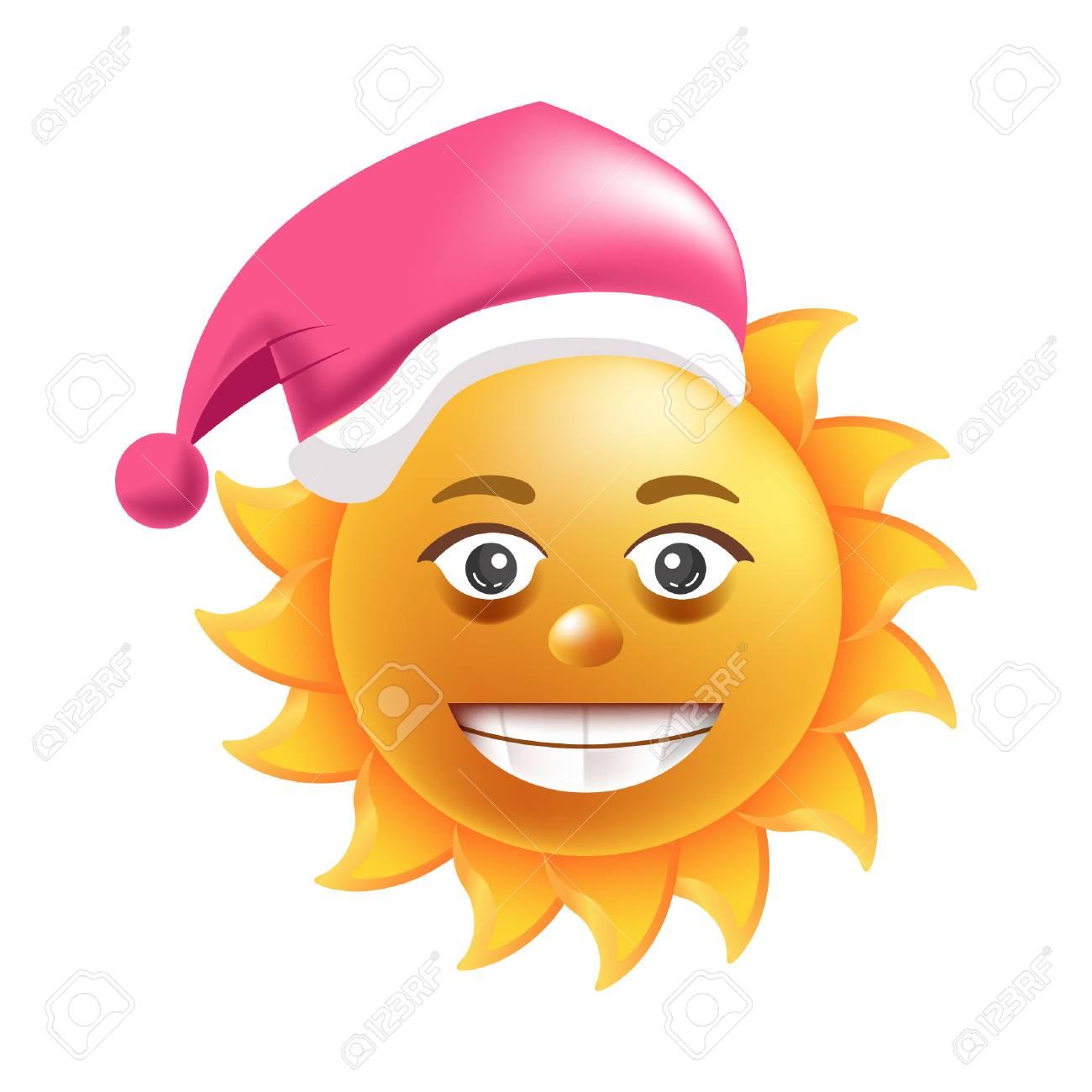 Sonne Lächeln Weihnachtsmütze Cartoon Emoticon Sommer Weihnachten ...
