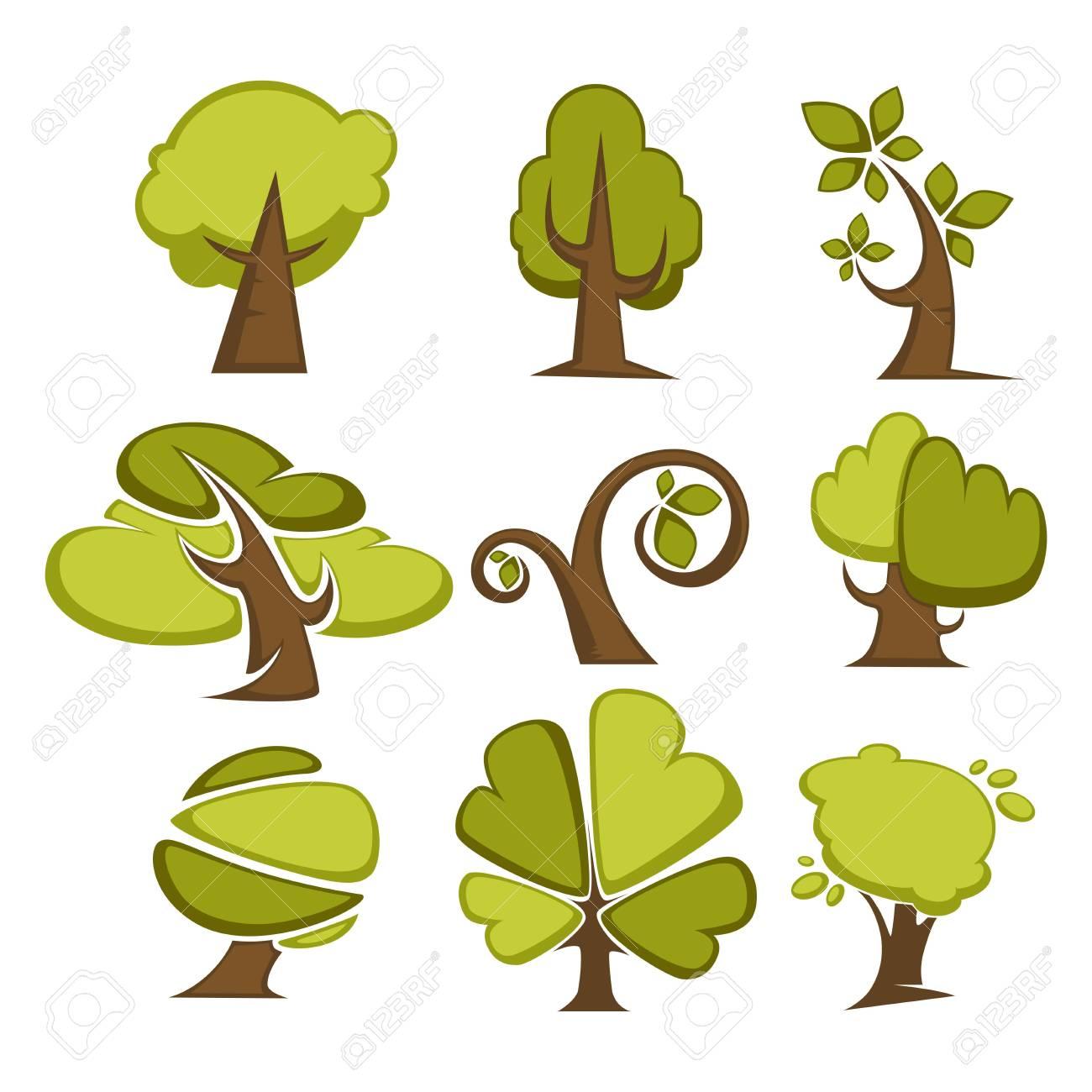 Conjunto De árboles Verdes Y Los Iconos De Hoja De árbol O