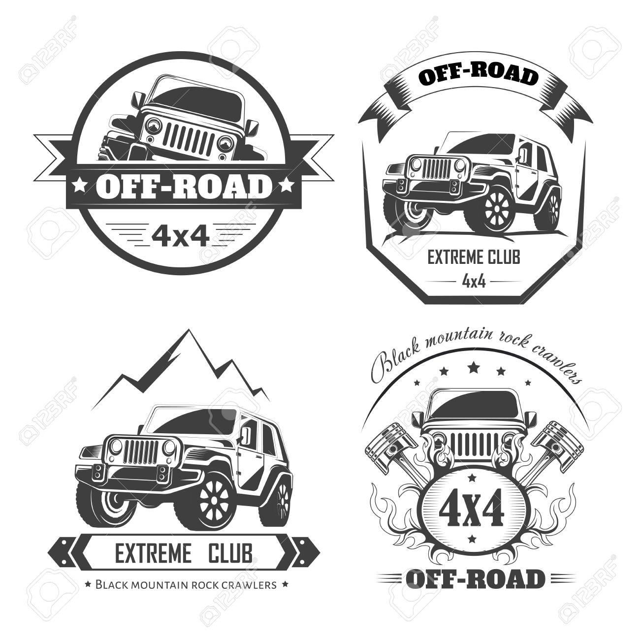 Off Road 4x4 Extreme Car Club Logo Templates Vector Symbols Royalty Free Cliparts Vectors And Stock Illustration Image 88350861
