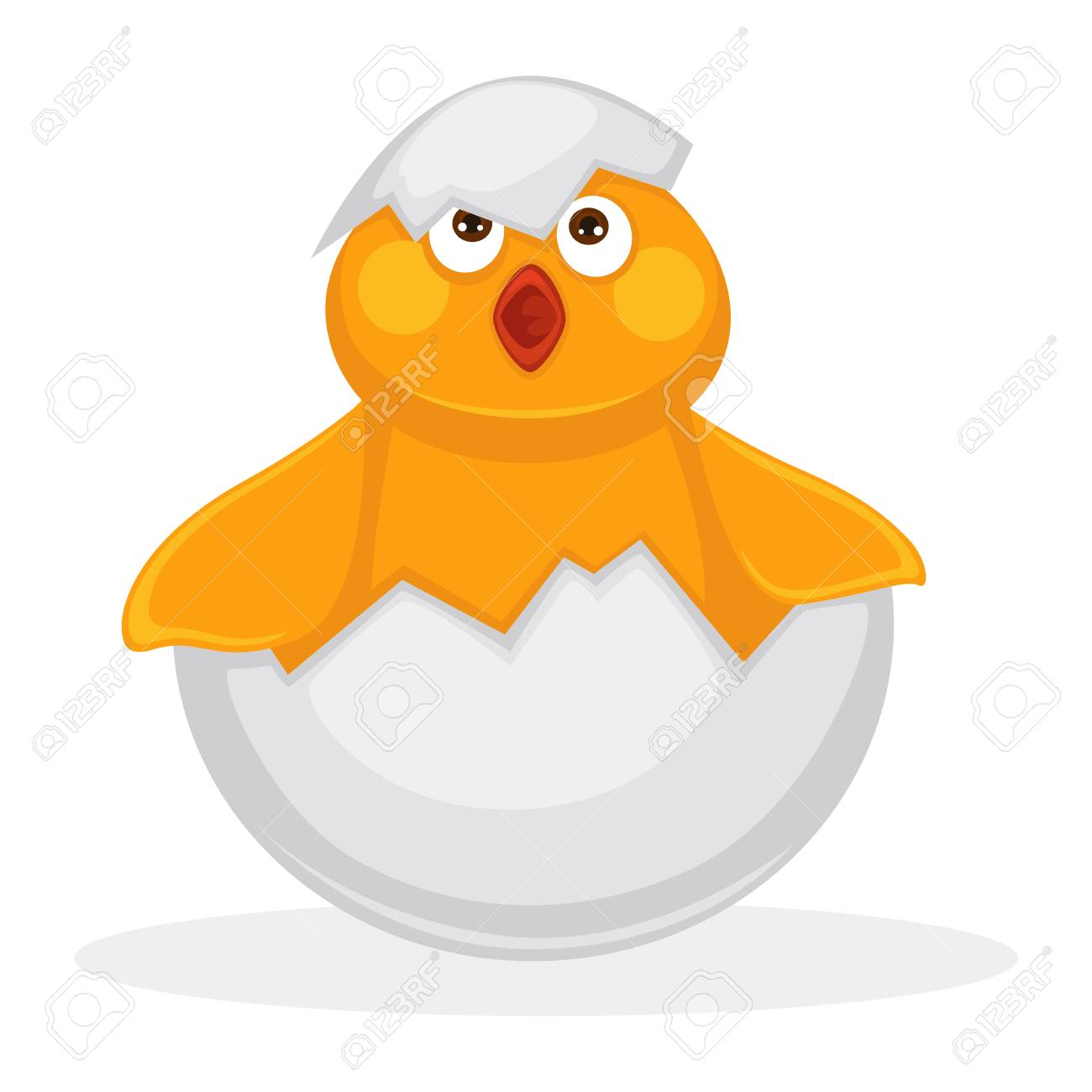 Adorable newborn chicken in egg shell with piece on head - 88350867