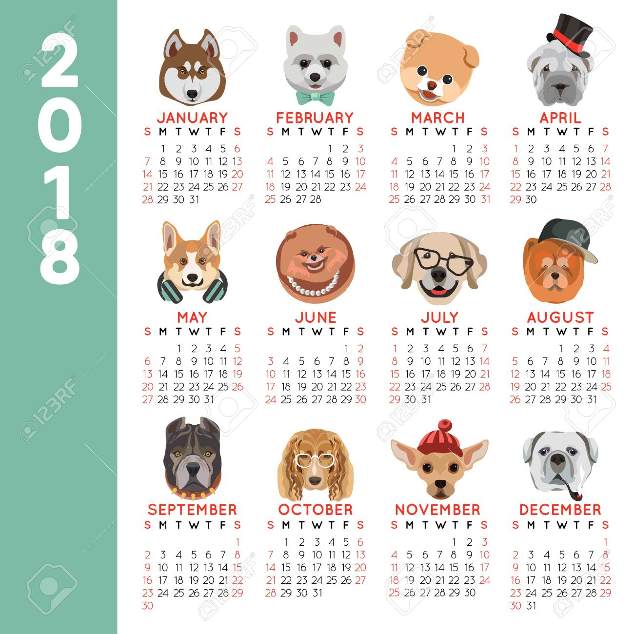2018 Calendar Dog Year Breed Cartoon Pet Icons Months Royalty Free