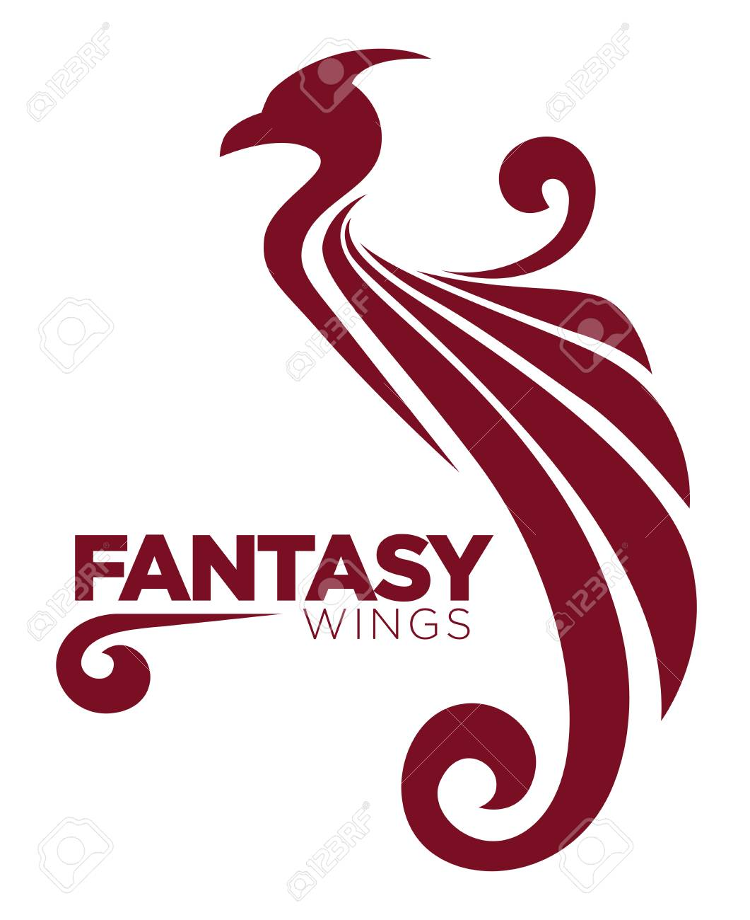 phoenix bird or fantasy eagle template for security or innovation