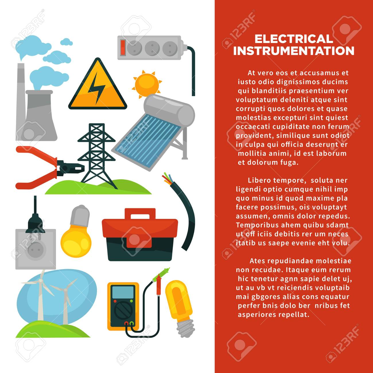 Electric power obtainment and usage promotional poster with sample