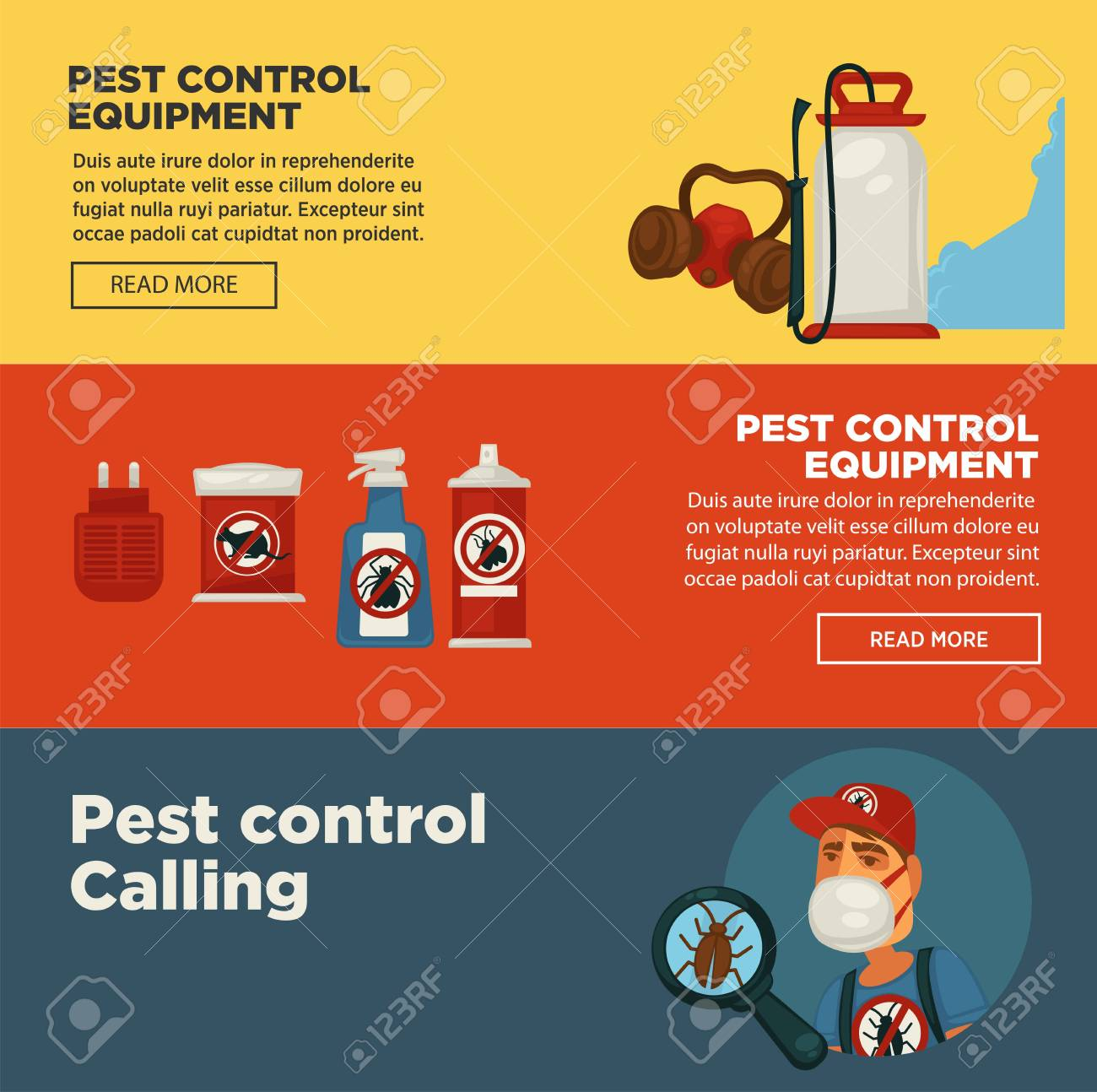 extermination pest control service banners template design of sanitary domestic exterminate disinfection equipment stock vector