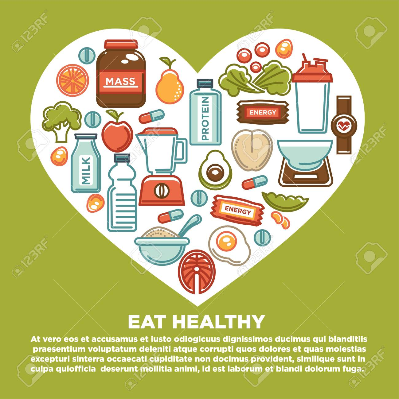 fitness healthy food heart poster of sport diet food nutrition