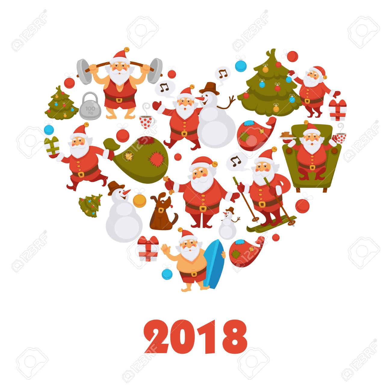 noel 2018 voeux Personnage De Dessin Animé De Santa New Year 2018 Célébrant La  noel 2018 voeux