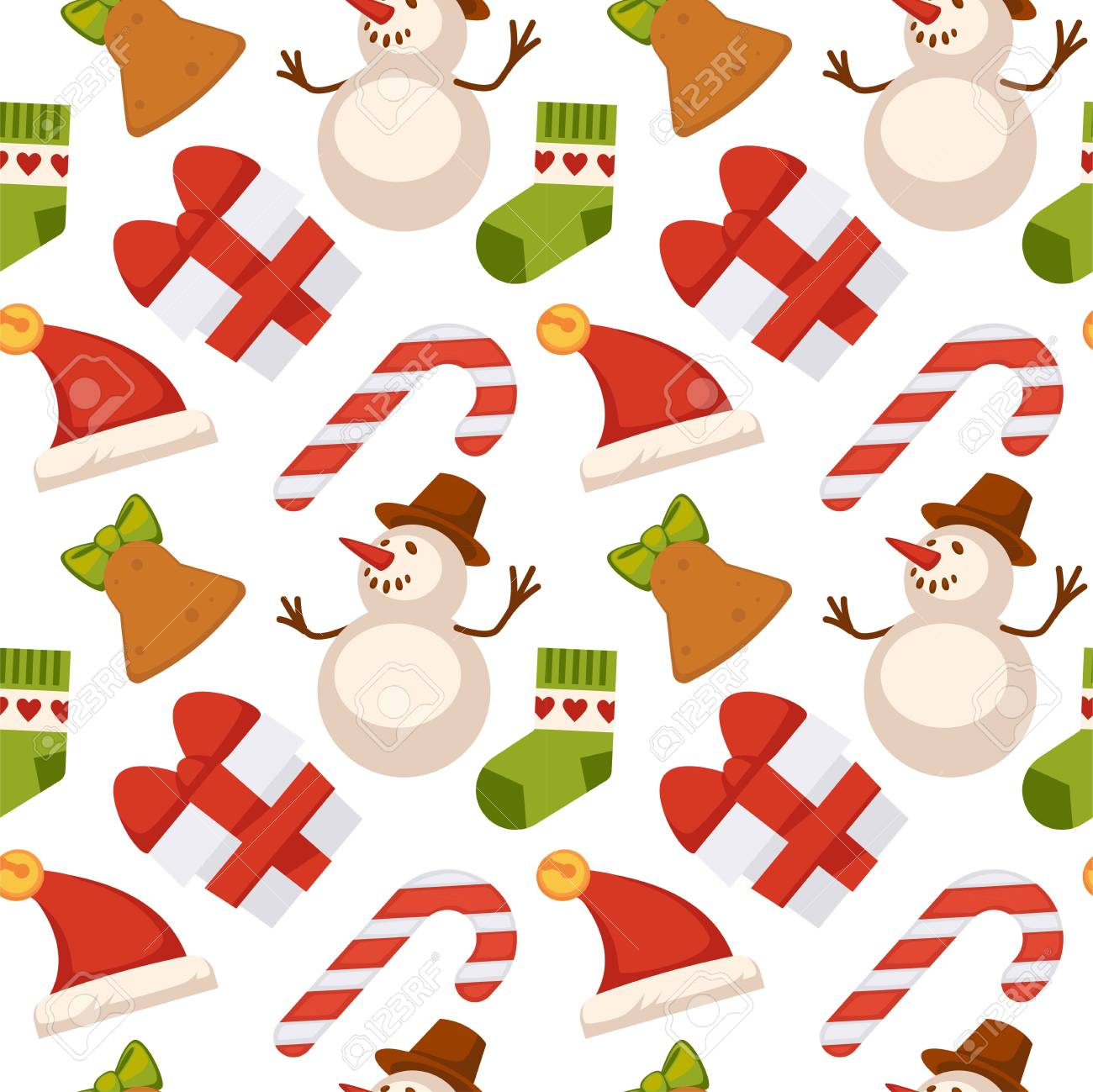 Christmas Seamless Pattern Composed Of Gift Boxes Tied With Ribbon