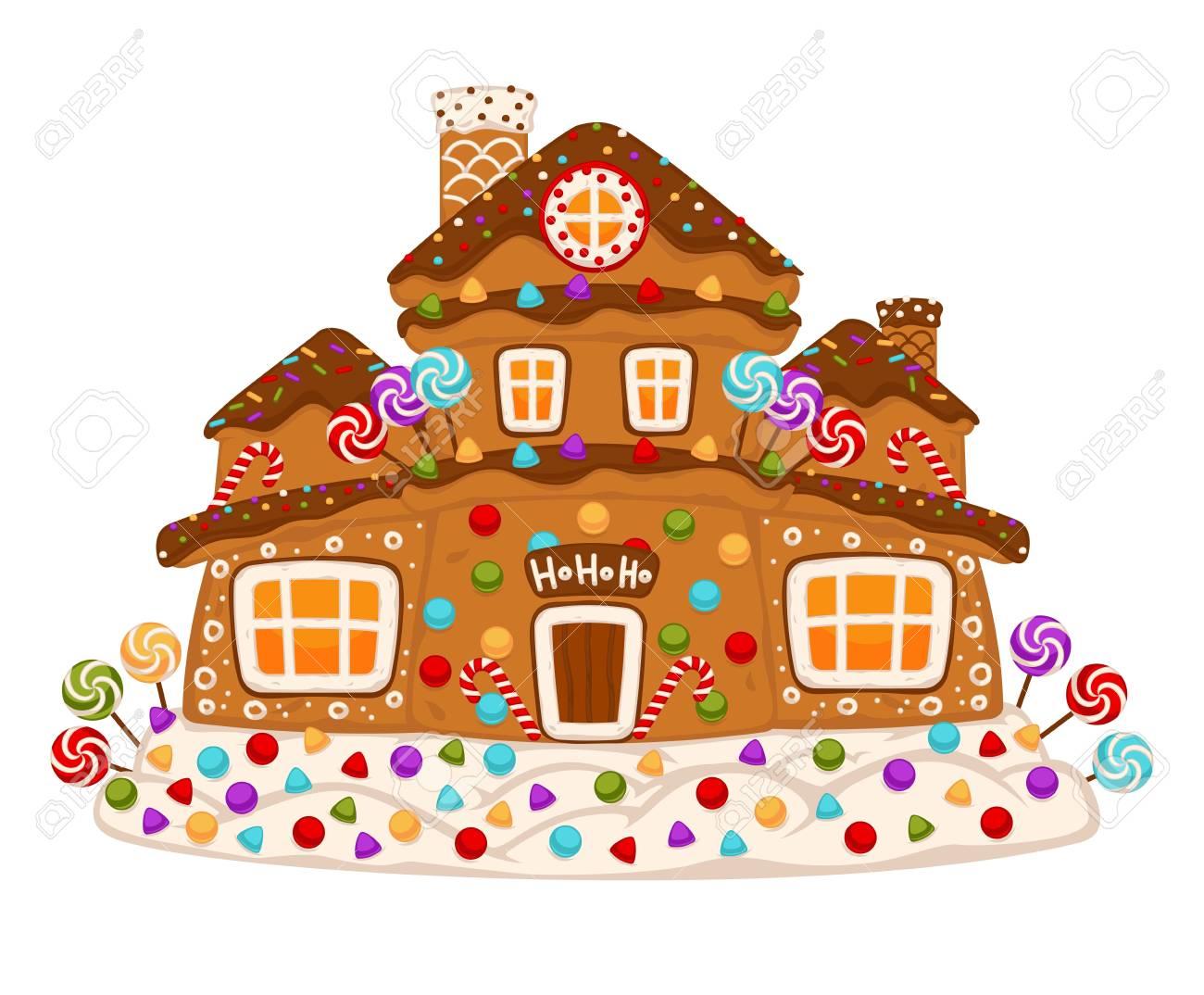 Christmas Gingerbread House Cartoon.Christmas Gingerbread Cookie House Vector Isolated Cartoon Ginger