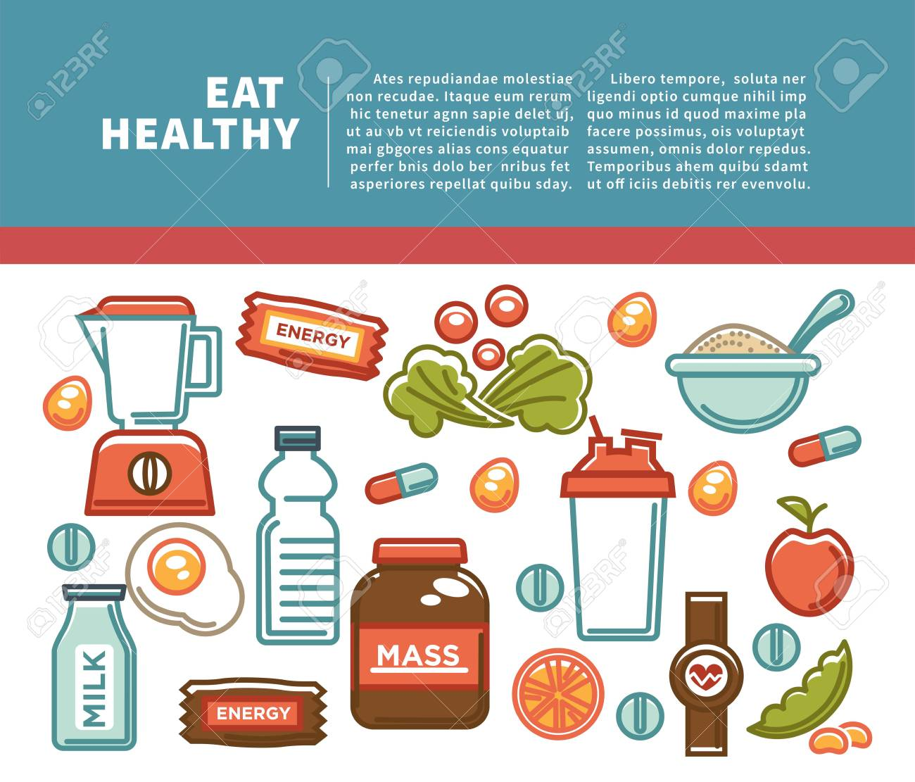 Fitness food poster of sports healthy diet food nutrition icons