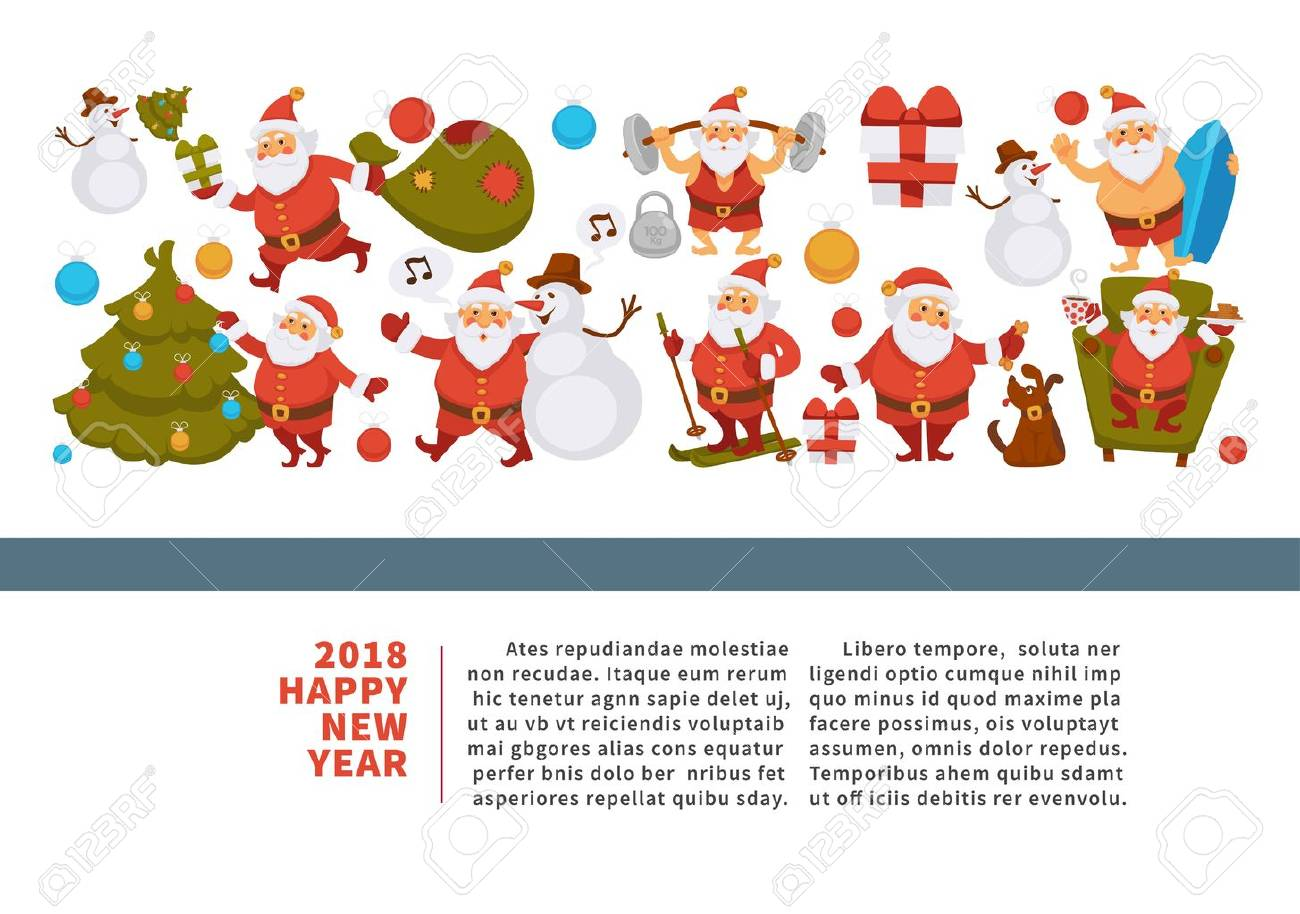 Happy New Year 2018 Poster With Santa Clauses In Traditional ...