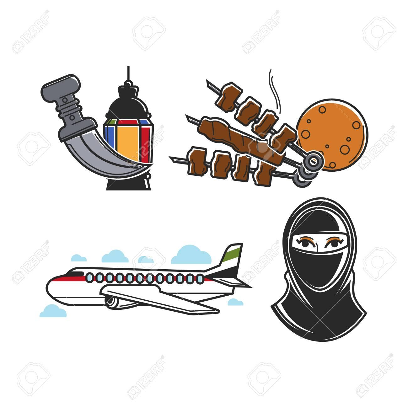 United Arab Emirates Traditional National Symbols Isolated Cartoon