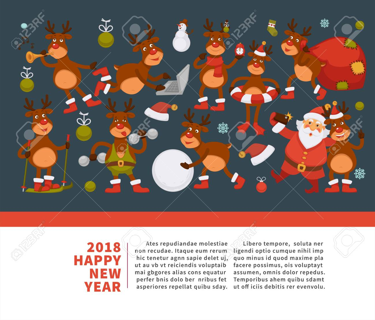 Merry Christmas And Happy New Year 2018 Vector Poster Of Deer Or Reindeer Cartoon  Funny Character