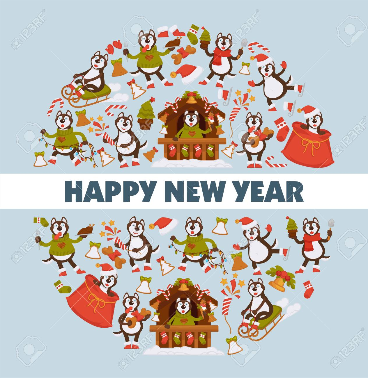 happy new year 2018 cartoon dog celebrating holidays greeting card design template stock vector