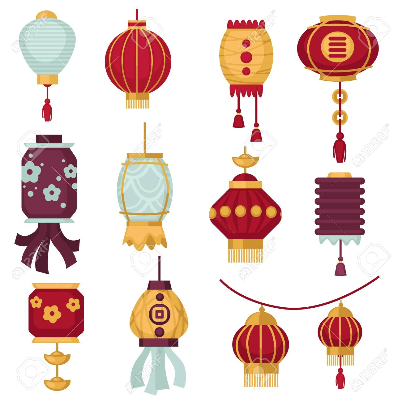 Chinese lanterns or red paper traditonal China decorations for New Year festival. Vector isolated icons of paper lanterns with hieroglyph calligrpahy or floral pattern design and tassels - 93446731